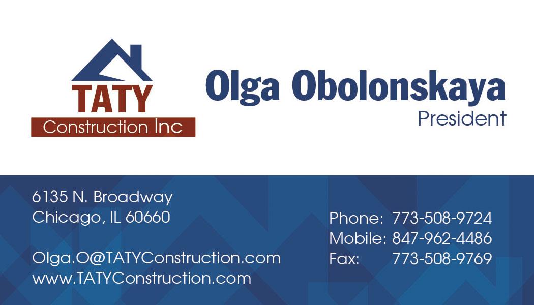 TATY Construction, Inc. Business Card Design |