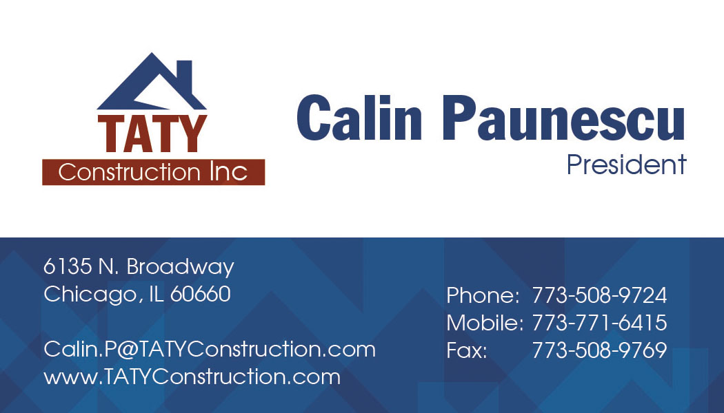 TATY Construction, Inc. Business Card Design |