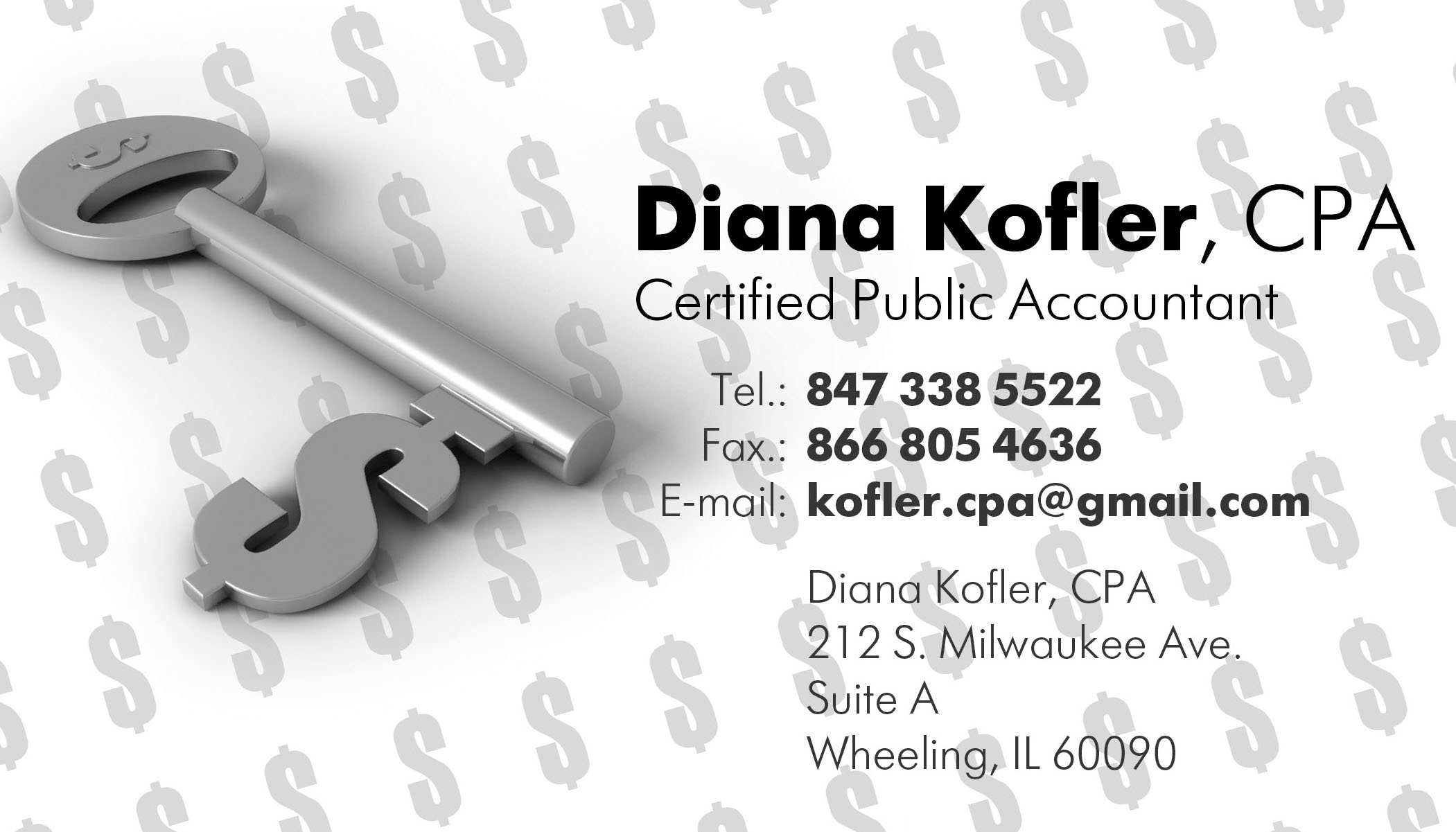 Diana Kofler, CPA Business Card Design |