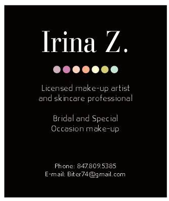 Irina z make up artist business cards design business card design in chicago reheart Images